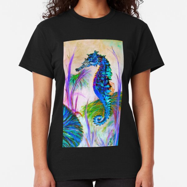 Rainbow Seahorse Inverted - fish - digital (ED01) Classic T-Shirt
