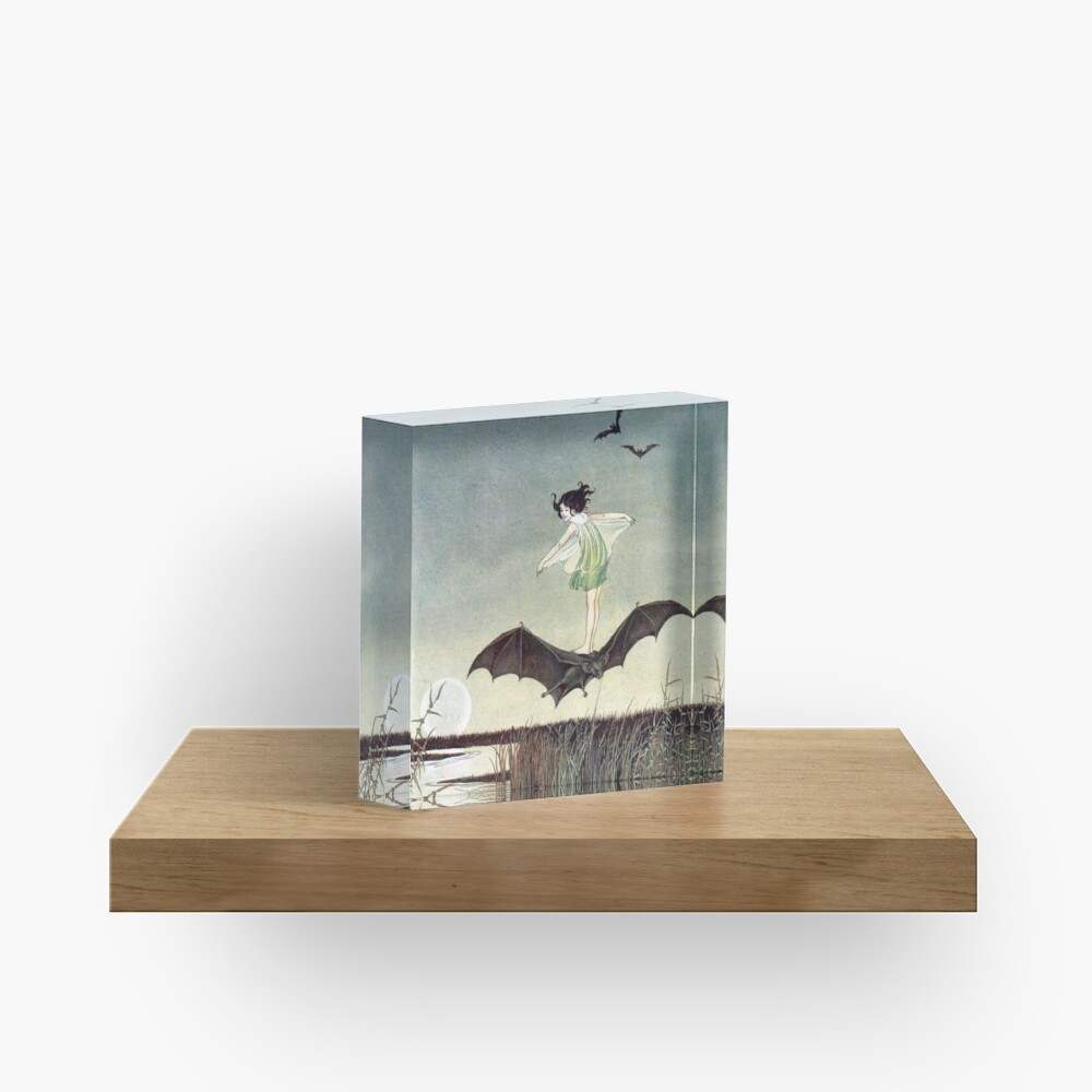 Fairy Girl Riding a Bat - Ida Rentoul Outhwaite Acrylic Block