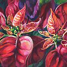 Poinsettia painting titled 'Offering' by DawnEaton