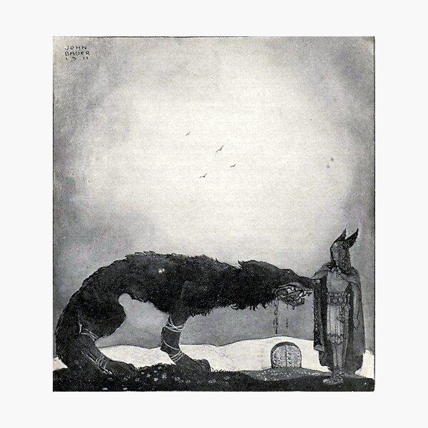 Tyr and Fenrir - John Bauer Photographic Print
