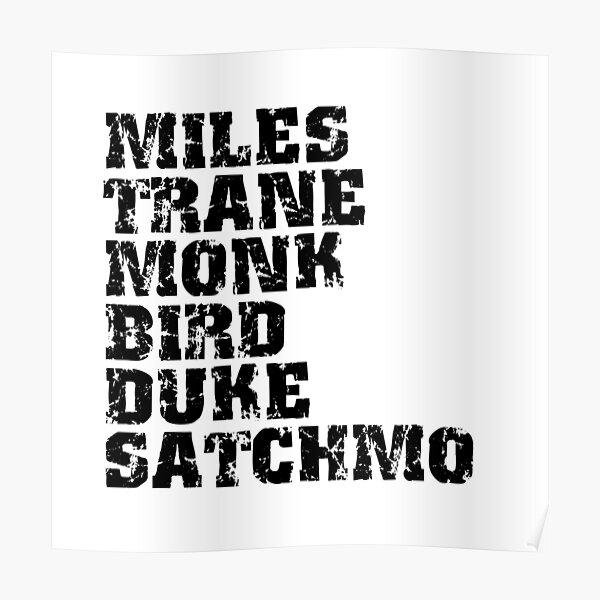 Famous Jazz Miles Coltrane Monk Parker Ellington Armstrong Poster