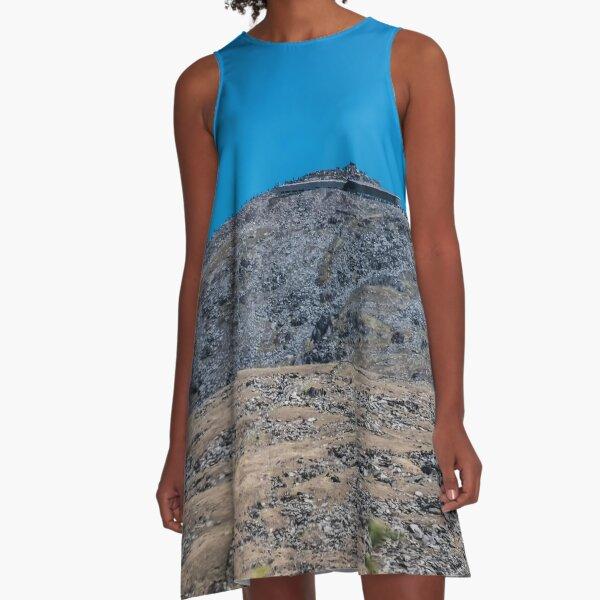 Mount Snowdon in Blue  A-Line Dress