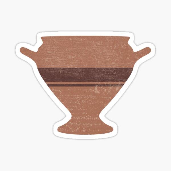 Minimal Abstract Greek Vase 15 - Bell Krater - Terracotta Series - Modern, Contemporary Print Sticker