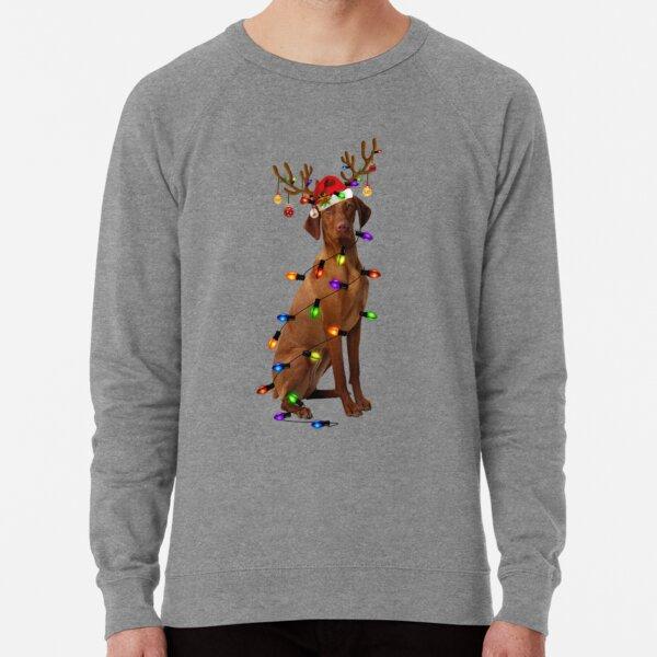 Funny Vizsla Christmas Reindeer Christmas Lights Lightweight Sweatshirt