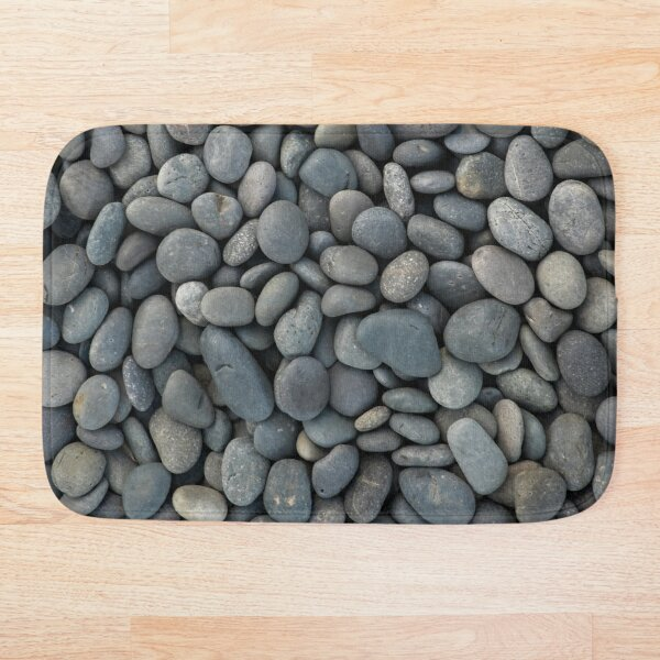 gray river stone pebbles river rock  Bath Mat