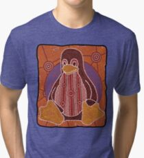 Tux (Solid background) Tri-blend T-Shirt