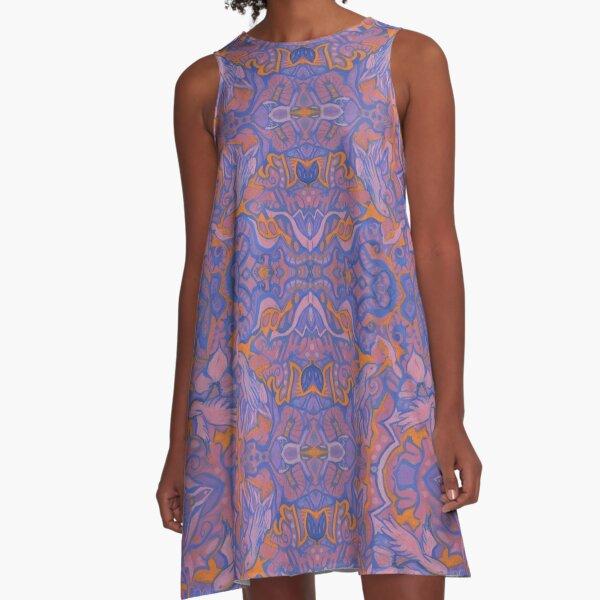 Birds Arabesque, Bohemian Pattern, Pink Blue Orange A-Line Dress