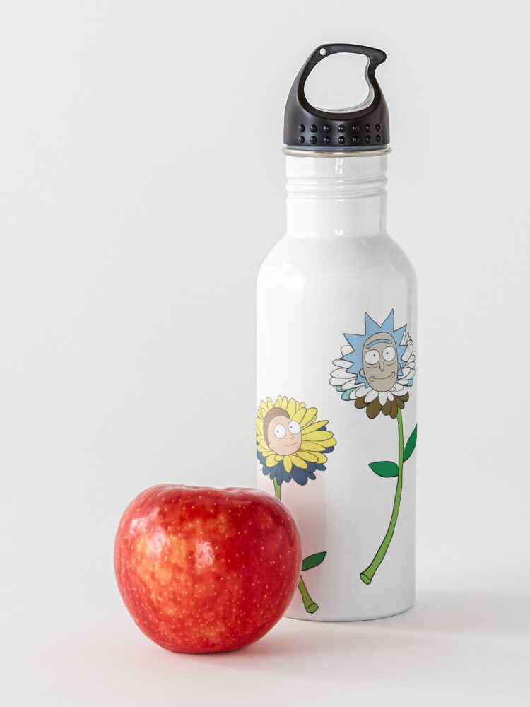 Alternate view of Rick and Morty as flowers Water Bottle