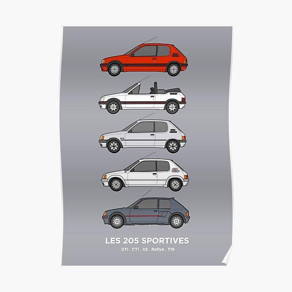 Collection de voitures Peugeot 205 Classic Poster