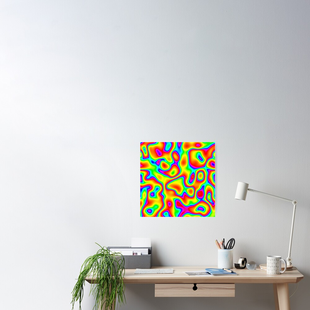 Rainbow Chaos Abstraction Poster