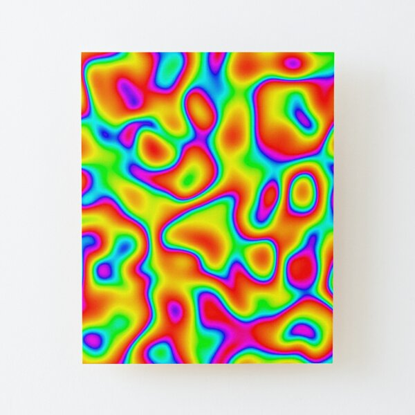 Rainbow Chaos Abstraction Wood Mounted Print