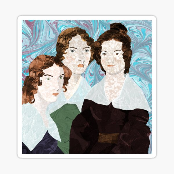 Bronte Sisters in Marbled Bookbinding Paper Sticker