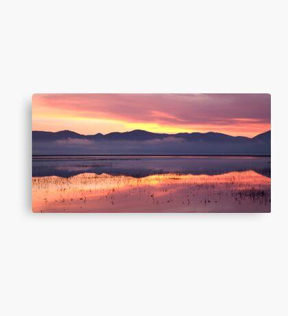 Cerknica lake at dawn Canvas Print