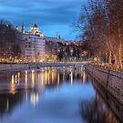 Almudena Cathedral Reflected On River Manzanares  by servalpe