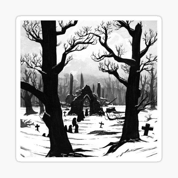 Klosterfriedhof im Schnee Sticker