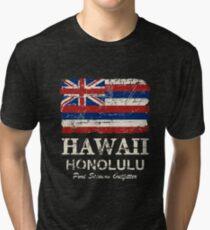 U.S. State Hawaii Flag - Vintage Look Tri-blend T-Shirt