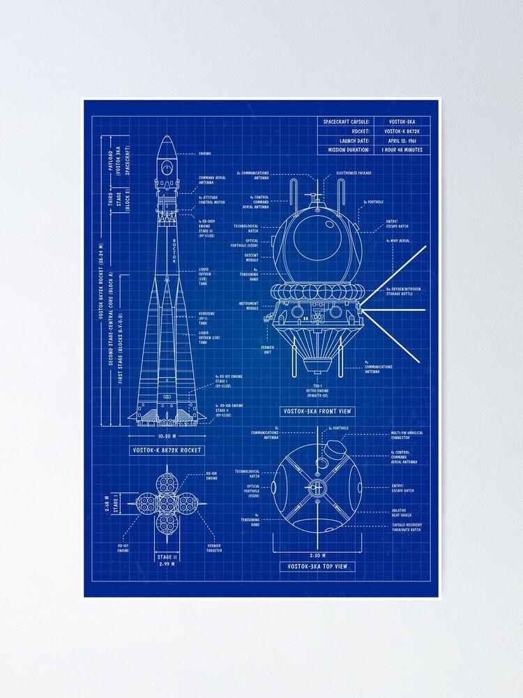 Alternate view of Vostok Blueprint (Blueprint) Vertical Poster