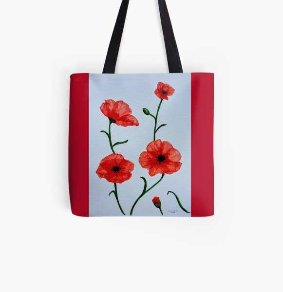 Poppies Poppy Field Blue Sky Tote Shopping Bag For Life