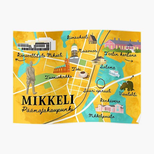 Map of Mikkeli Poster
