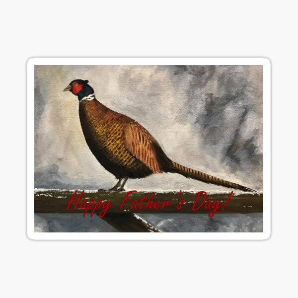 Pheasant in Winter - Father's Day Card Sticker
