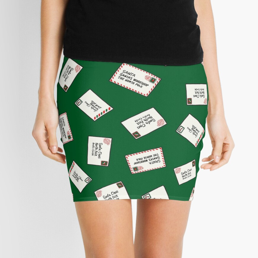 Letters to Santa in Green Mini Skirt