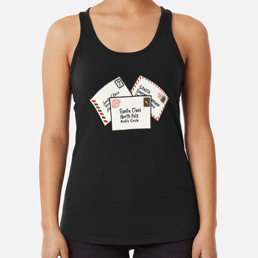 Letters to Santa in Green Racerback Tank Top