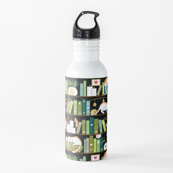 Library cats - whimsical cats on the book shelves  Water Bottle