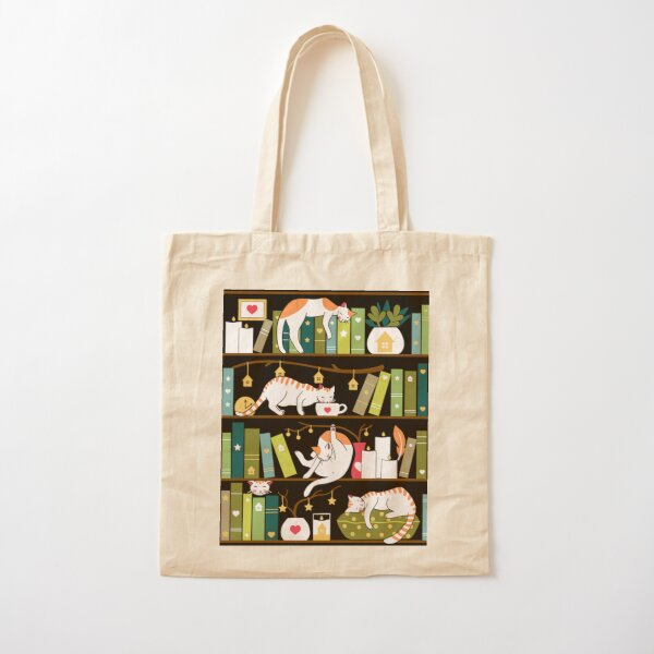 Library cats - whimsical cats on the book shelves  Cotton Tote Bag