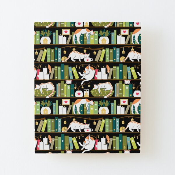 Library cats - whimsical cats on the book shelves  Wood Mounted Print