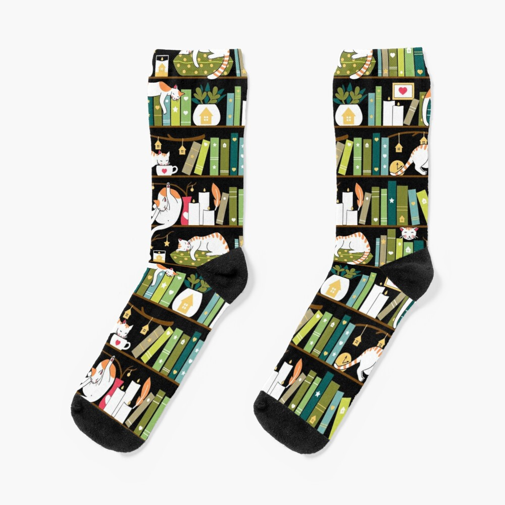 Library cats - whimsical cats on the book shelves  Socks