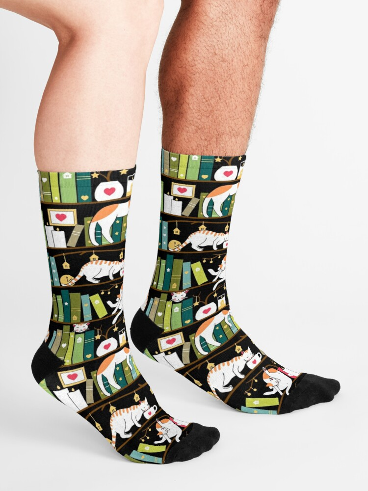 Alternate view of Library cats - whimsical cats on the book shelves  Socks