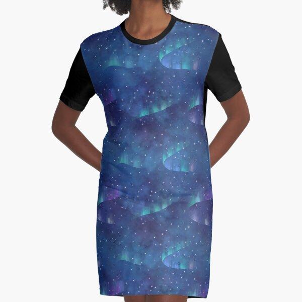 Aurora borealis Graphic T-Shirt Dress