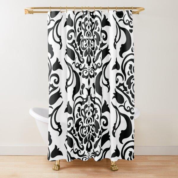 Large Scale Black Damask Shower Curtain