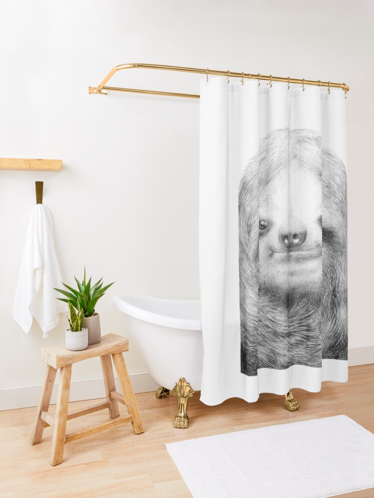 Alternate view of Sloth Shower Curtain