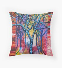 'Blue Trees in an Abstract Forest' Throw Pillow