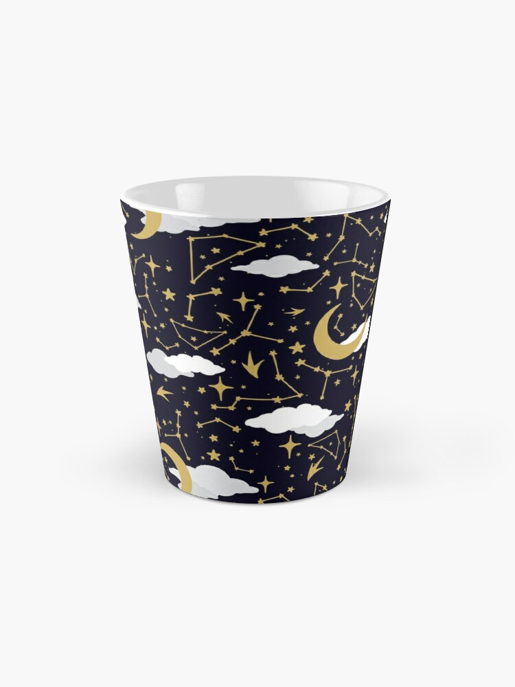 Alternate view of Celestial Stars and Moons in Gold and White Mug