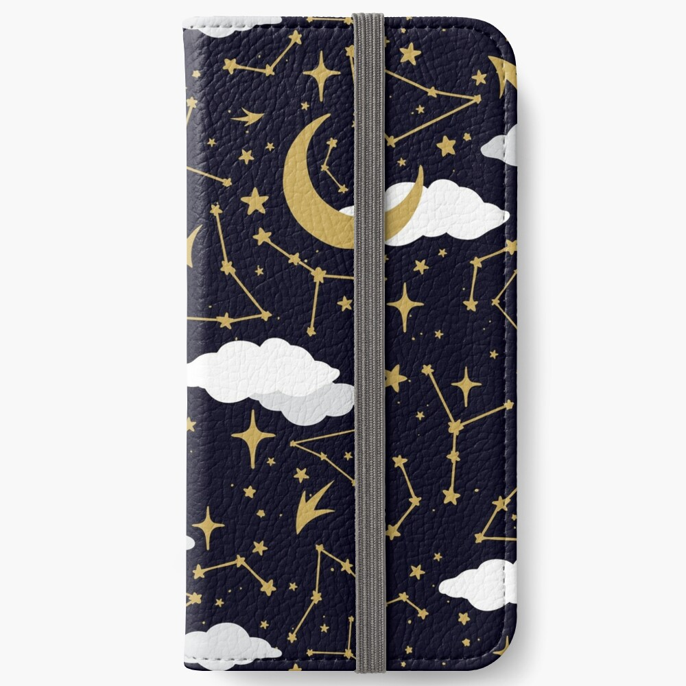 Celestial Stars and Moons in Gold and White iPhone Wallet