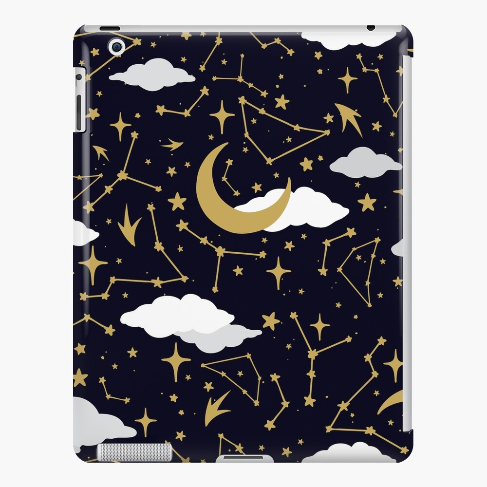 Celestial Stars and Moons in Gold and White iPad Snap Case