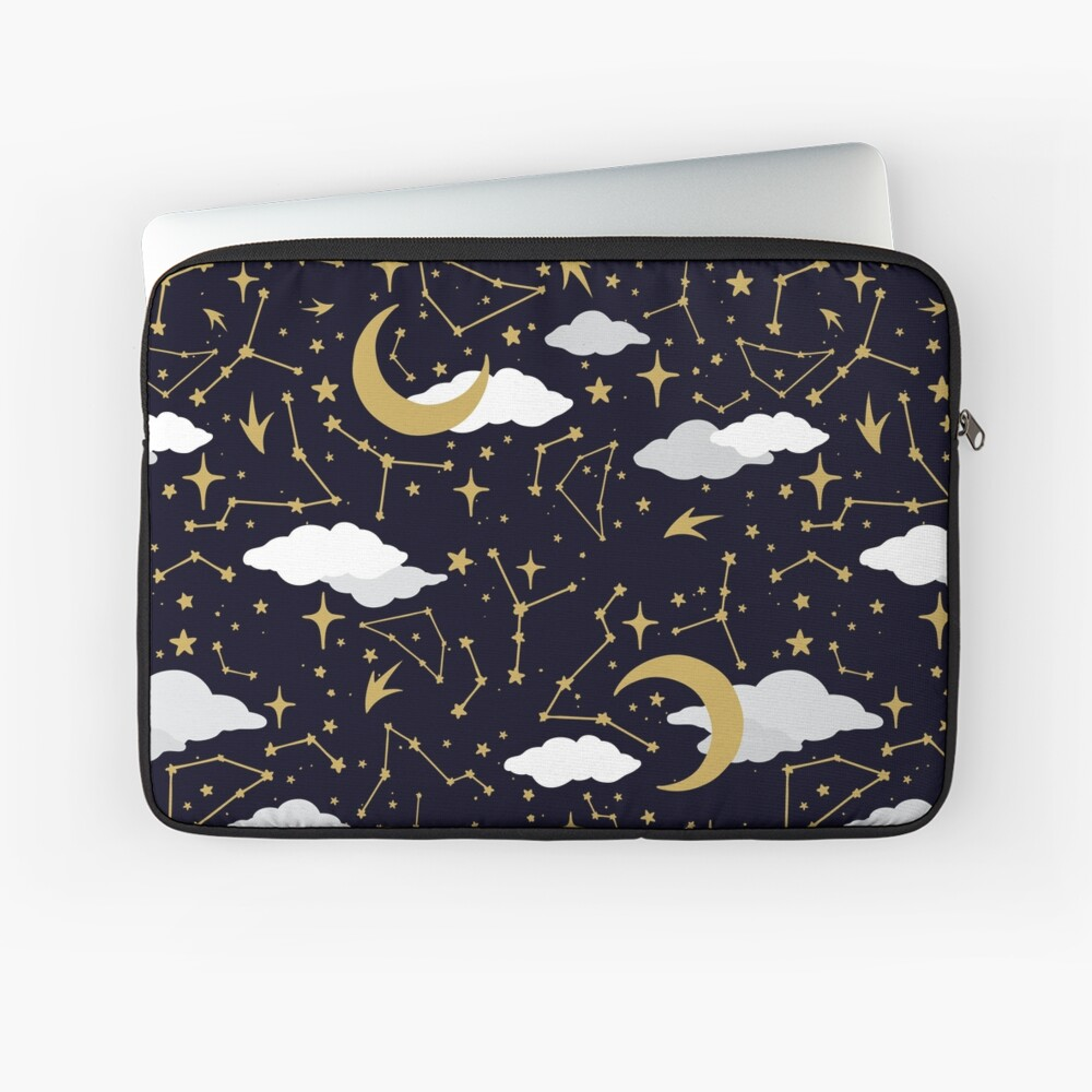 Celestial Stars and Moons in Gold and White Laptop Sleeve