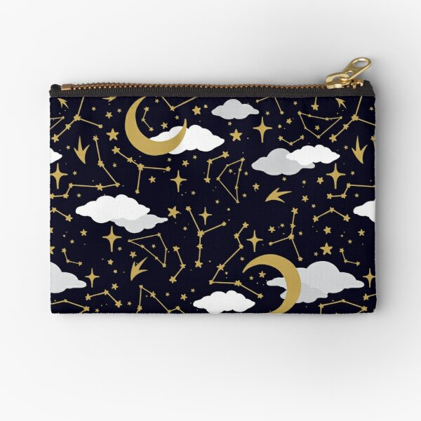 Celestial Stars and Moons in Gold and White Zipper Pouch