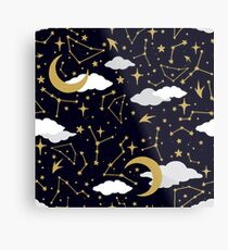 Celestial Stars and Moons in Gold and White Metal Print