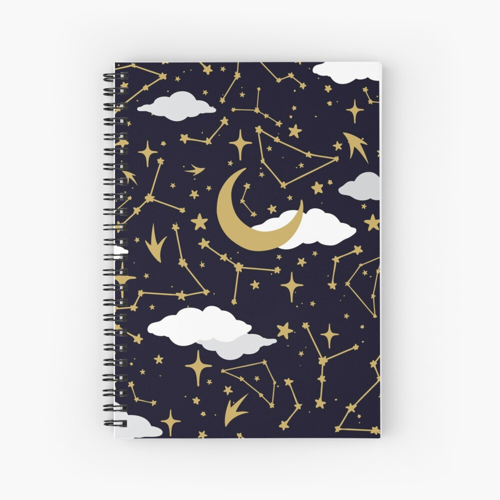 Celestial Stars and Moons in Gold and White Spiral Notebook