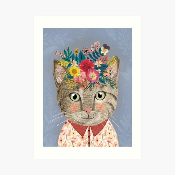 Grey Cat with Flower Crown. Animal lover art Art Print