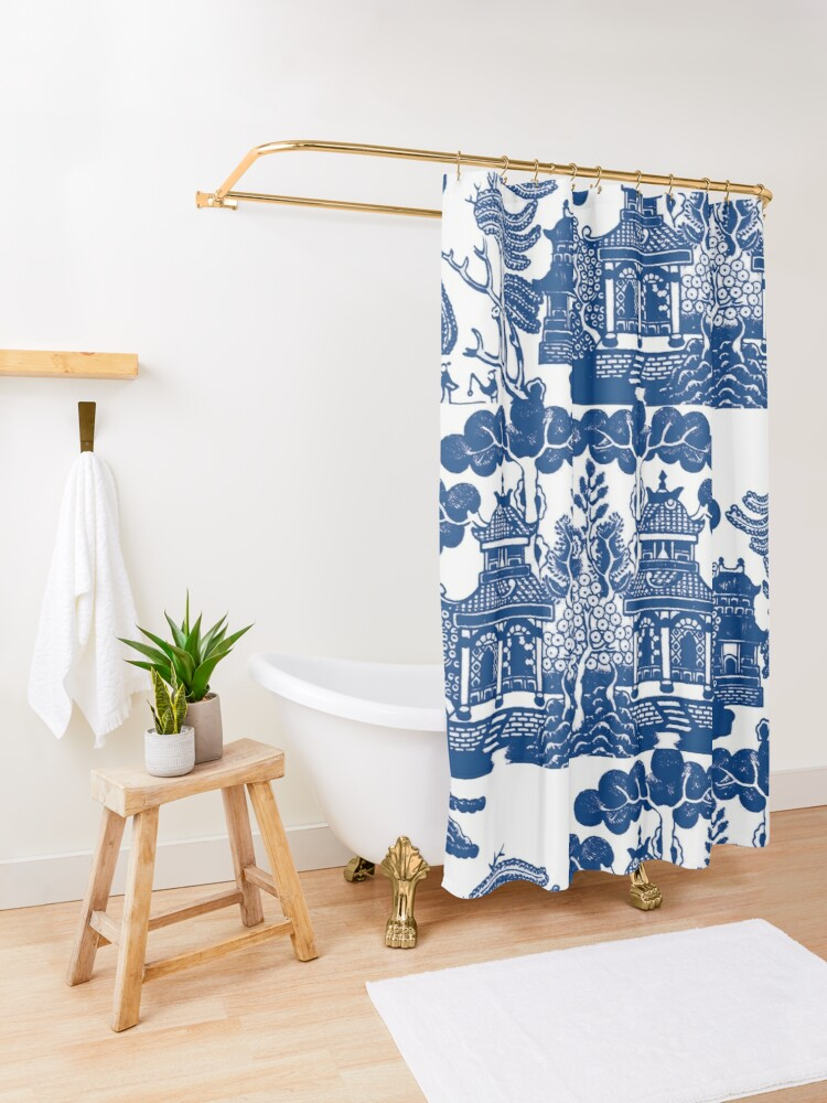 Alternate view of Blue Willow Chinoiserie Blue And White Porcelain Inspiration Shower Curtain