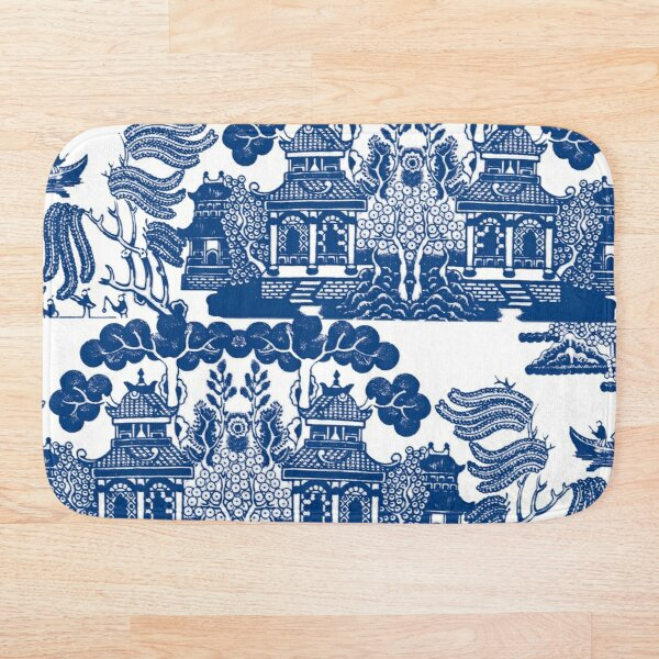 Blue Willow Chinoiserie Blue And White Porcelain Inspiration Bath Mat