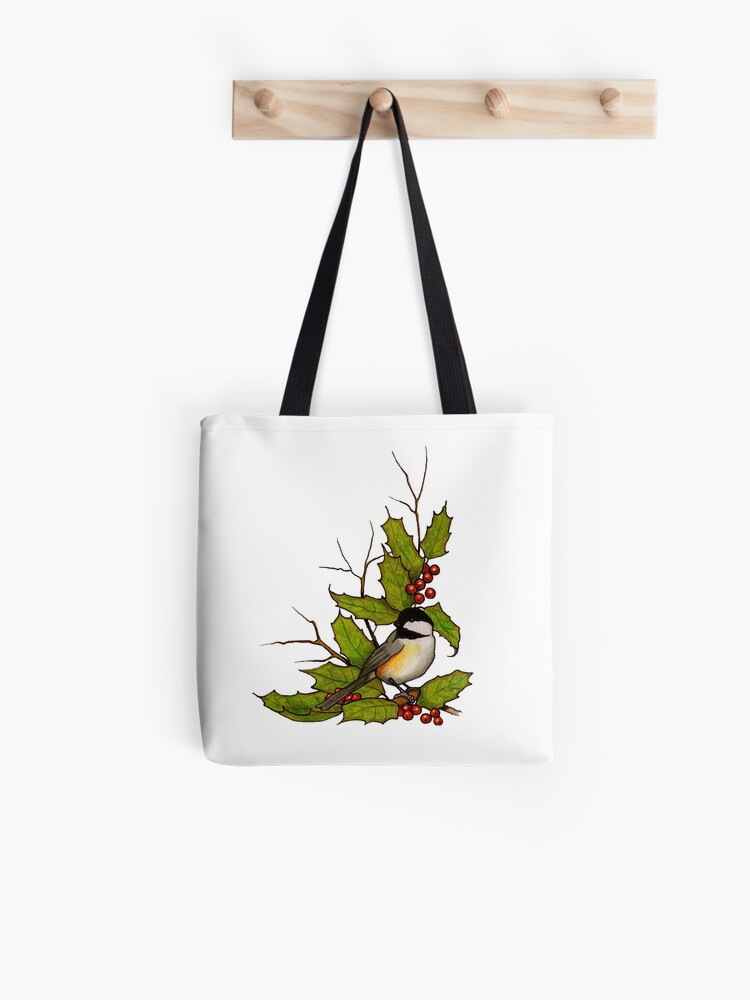 Drawstring Backpack Decorative Birds And Holly Berries Gym Bag