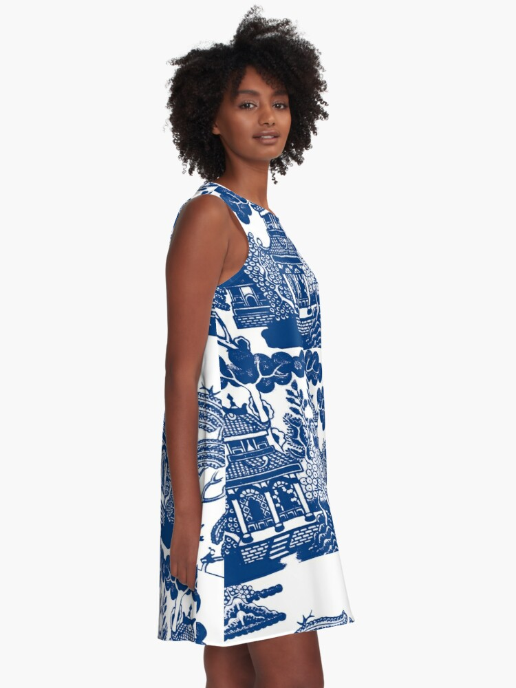 Alternate view of Blue Willow Chinoiserie Blue And White Porcelain Inspiration A-Line Dress