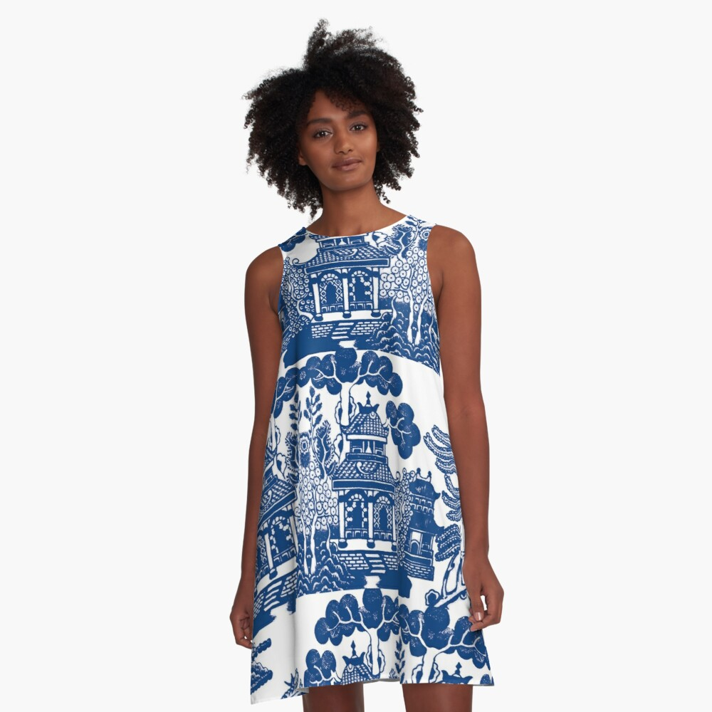 Blue Willow Chinoiserie Blue And White Porcelain Inspiration A-Line Dress