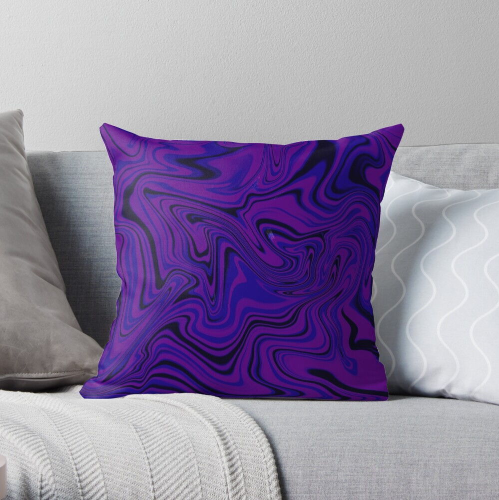 Purple Abstract Swirl Throw Pillow