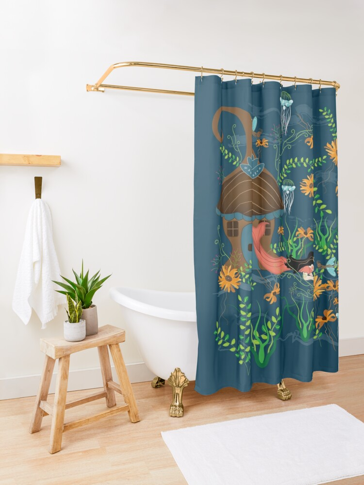 Alternate view of Sunflower Mermaid with Butterfly fish Shower Curtain
